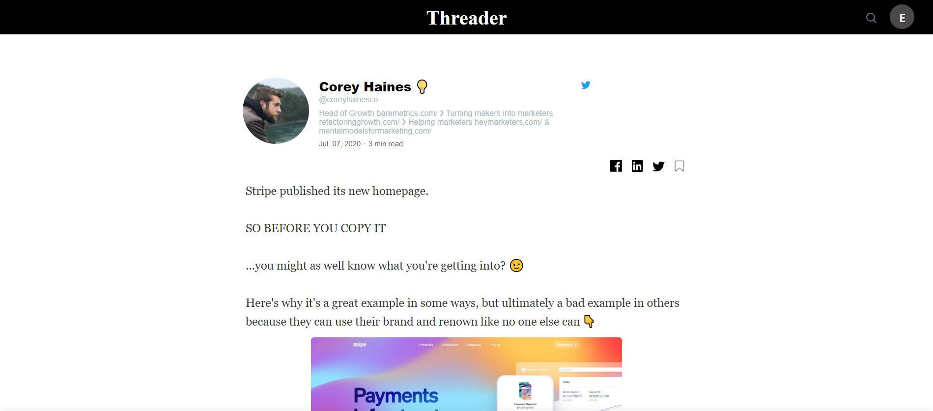 A twitter thread saved into the the threader app