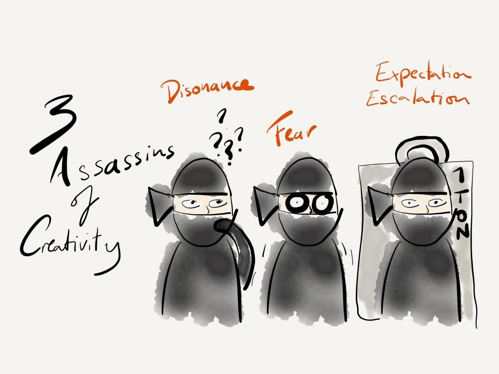 The three assassins of creativity: Dissonance, Fear and Expectation Escalation.