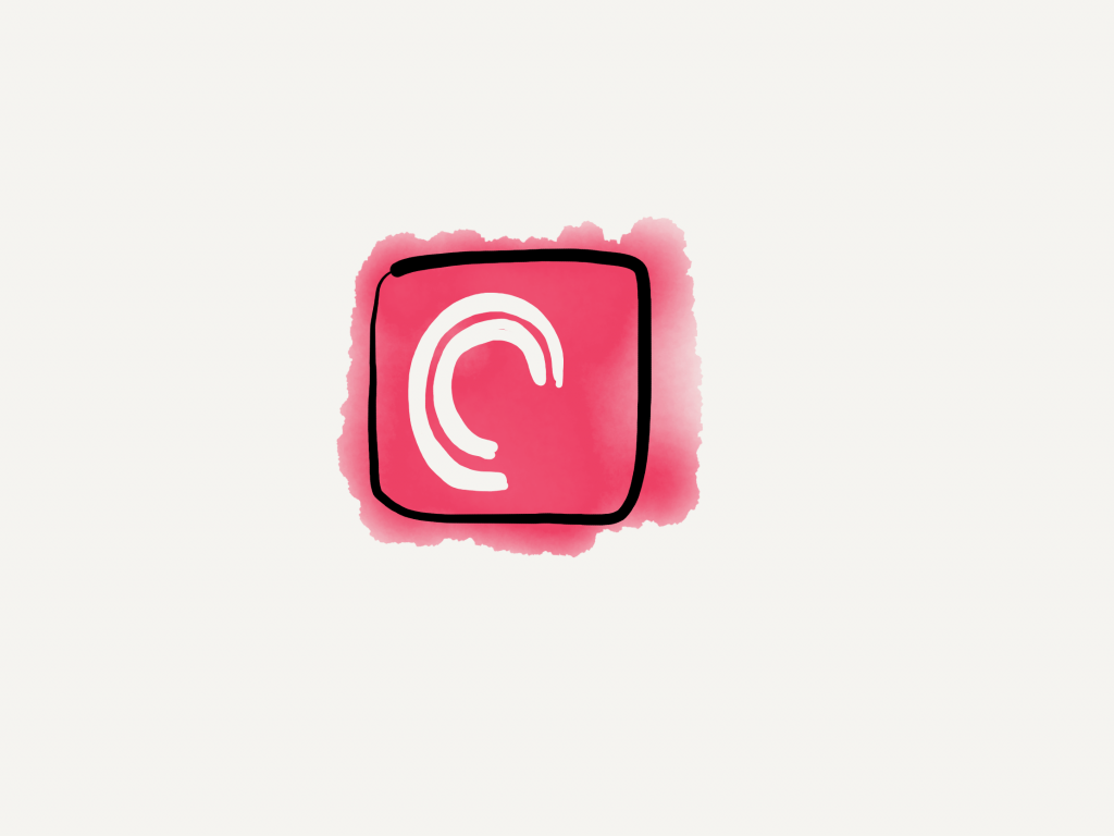 a hand drawn version of the pocket casts icon