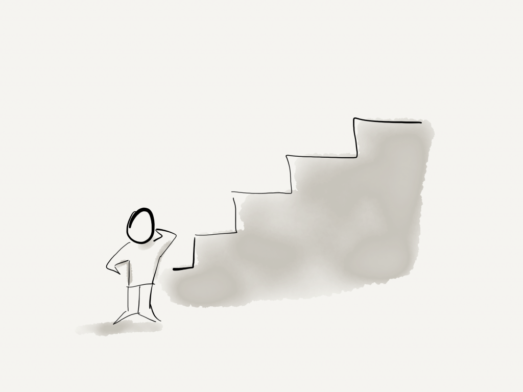 a man reflecting on the stages of a project - hand drawn